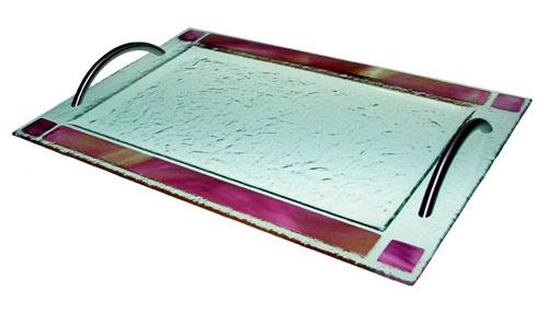 Bandeja cenefa color Con asa acero inox. 35x25 cm. (Medidas aproximadas)