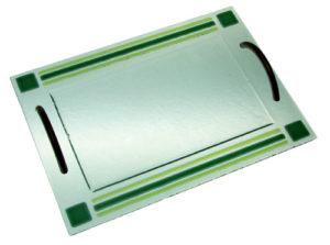 Bandeja tiras color Con asa acero inox. 35x25 cm. (Medidas aproximadas)