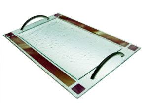 Bandeja cenefa color Con asa acero inox. 43x28 cm. (Medidas aproximadas)