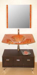 Espejo cenefa color,  Lavabo fusing marmorizado